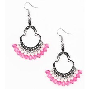 Pink Beaded Silver Studded Frame Dangle Earrings
